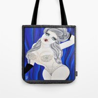burlesque Tote Bags featuring BURLESQUE by Valentinas Vanity Artwork