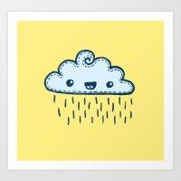 Happy Raining Yellow Cloud Art Print