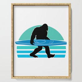Funny Bigfoot Sasquatch Kayaking Hiking Camping Gift Serving Tray