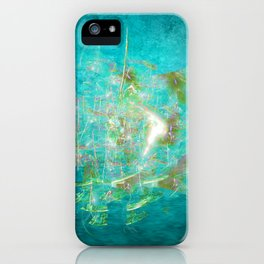 Fractal ghost ship on the azure ocean iPhone Case