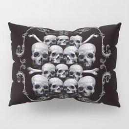 Skulls and Filigree - Black and White Pillow Sham