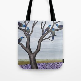 grackles in a tree in spring Tote Bag