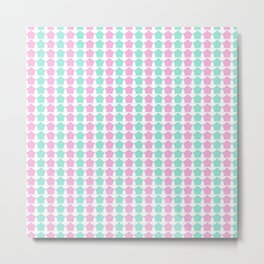 Pink & Green Star Seamless Pattern Metal Print