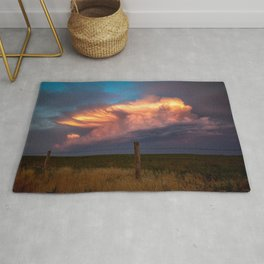 Dreamy - Storm Cloud Drenched in Sunlight at Dusk in Western Oklahoma Rug