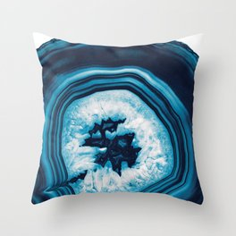 Blue White Agate #2 #gem #decor #art #society6 Throw Pillow