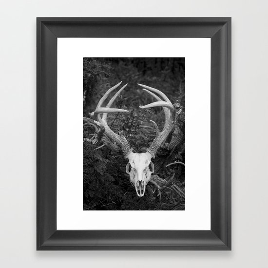 Deer Skull Black & White Framed Art Print