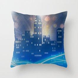 Neon city skyline by night metallic look print Throw Pillow