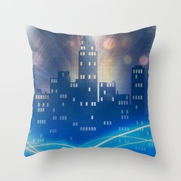 Neon city skyline by night metallic look print Throw Pillow