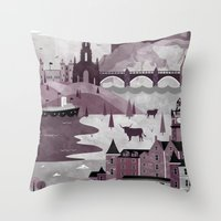 travel poster Throw Pillows featuring Edinburgh Travel Poster Illustration by ClaireIllustrations
