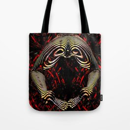 8744-KMA Rear View Feet Legs Thighs Vulva Abstracted Zebra Woman Maher Tote Bag