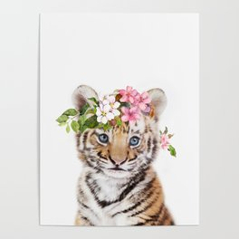 Tiger Cub with Flower Crown Poster