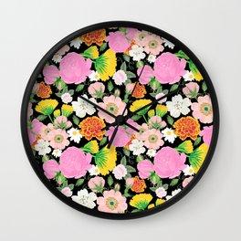 Garden Chintz in Midnight Black Wall Clock
