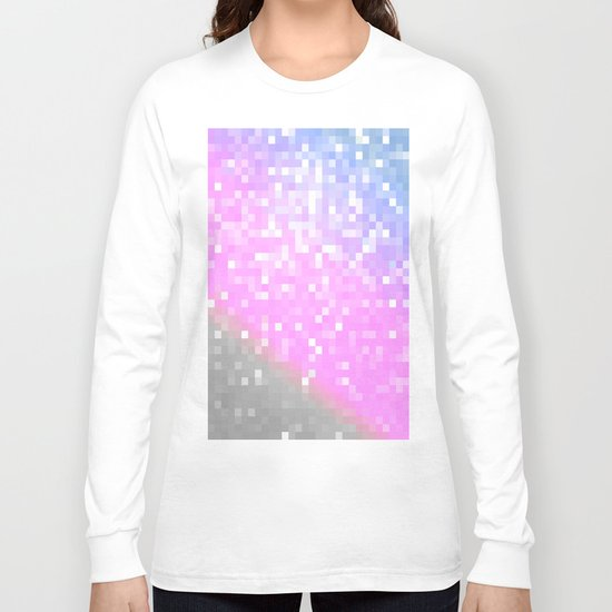 Pink Lavender Gray Pixels Long Sleeve T-shirt