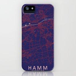 Hamm, Germany, Blue, White, City, Map iPhone Case
