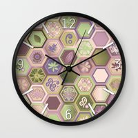 polygon Wall Clocks featuring Polygon pattern by /CAM