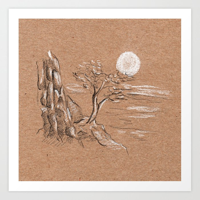 Mountain lonely tree Art Print