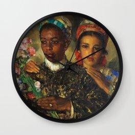"African American Masterpiece ""Women Arranging a Bouquet of Flowers' by Jose Cruz Herrera Wall Clock"