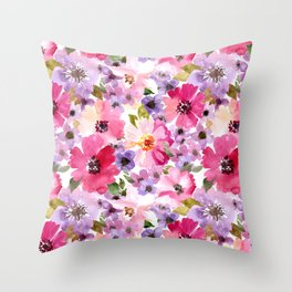 FLOWERS WATERCOLOR 6 Throw Pillow