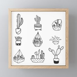 Minimalist Cacti Collection Black and White Framed Mini Art Print