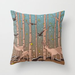 Birch Trees with Birds And Deer Throw Pillow