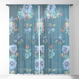 Cornflower Blues in Watercolor Sheer Curtain