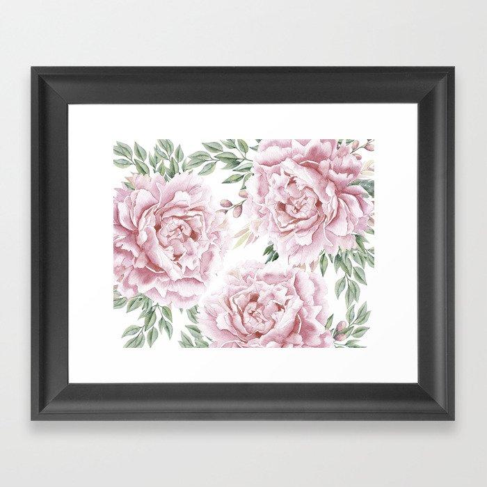 Beautiful Pink Watercolor Floral Bouquet Framed Art Print