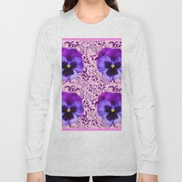 PINK ART &  LILAC PURPLE PANSY SPRING FLORAL PATTERN Long Sleeve T-shirt