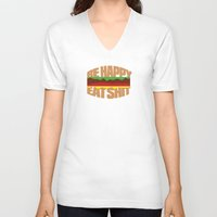 hamburger V-neck T-shirts featuring Hamburger by WAMTEES