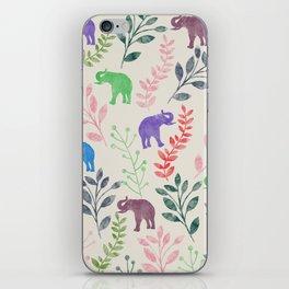 Watercolor Flowers & Elephants iPhone Skin