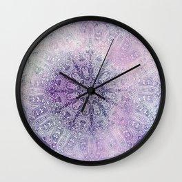 painterly paisley mandala in mauve Wall Clock
