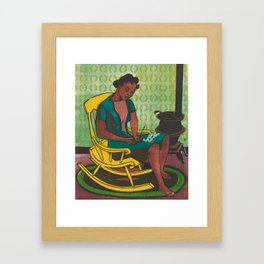 The Yellow Rocker Woodblock Art Framed Art Print