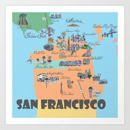 San Francisco Fine Art Print Retro Vintage Favorite Map with Touristic Highlights Active Art Print