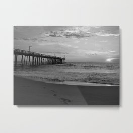 Black And White Nags Head Beach Sunrise Metal Print