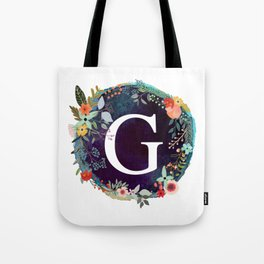 Personalized Monogram Initial Letter G Floral Wreath Artwork Tote Bag