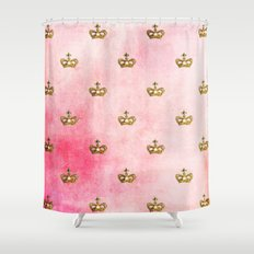 Gold crowns on pink watercolor backround- pattern Shower Curtain