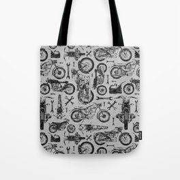 Vintage Motorcycle Pattern Tote Bag