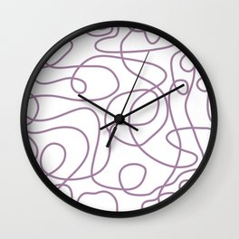 Doodle Line Art | Soft Purple Lines on White Background Wall Clock