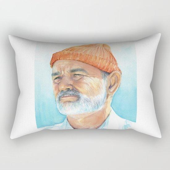 Steve Zissou Art Life Aquatic Bill Murray Watercolor Portrait Rectangular Pillow