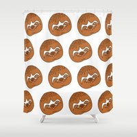 sloths Shower Curtains featuring So Many Sloths by tripinmidair