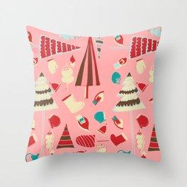 Vintage Christmas Pink Throw Pillow
