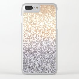 Champagne and Gray Glitter Ombre Clear iPhone Case
