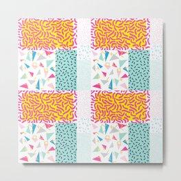 90's Pattern Funky Colors Metal Print