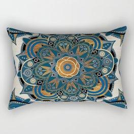 Mandala Blue and Gold Rectangular Pillow