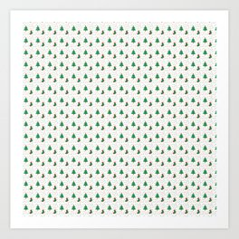 Christmas Tree And Stockings Pattern On White Art Print