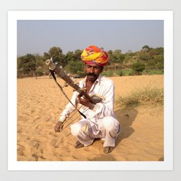 Rajastan Music Man Art Print