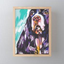 fun English Springer Spaniel bright colorful Pop Art painting by Lea Framed Mini Art Print