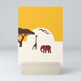 Savannah with elephant and giraffe Mini Art Print