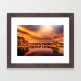 Sunset over Jamaica Pond Framed Art Print