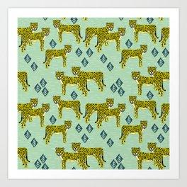 Cheetah safari nursery kids animal nature pattern print gifts Art Print