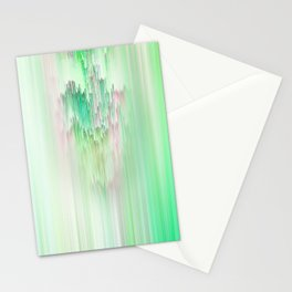 Abstract Cascade Glitch 1.Green Stationery Cards